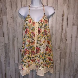 Free People Floral Boho Style Racerback Blouse